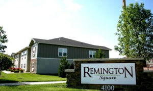 Entrance to our Lawrence apartments with Remington Square sign.