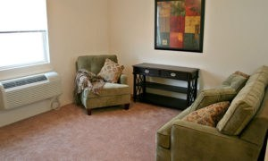 Example of a living room with plush carpeting in our Lawrence apartments.