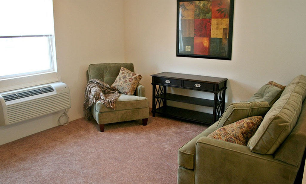 Interior View of a Furnished Living Room in Remington Square Apartments in Lawrence, Kansas
