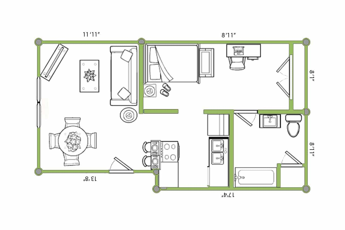 Spacious one-bedroom, one-bath 528 sq. ft. floor plan of Lawrence apartment for rent